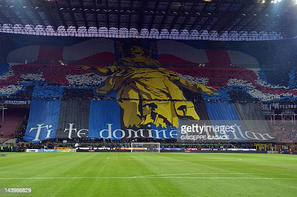 Inter Milan's supporter wave flags on May 6 2012 before an Italian Serie A football match against AC Milan at the San Siro Stadium in Milan AFP PHOTO...