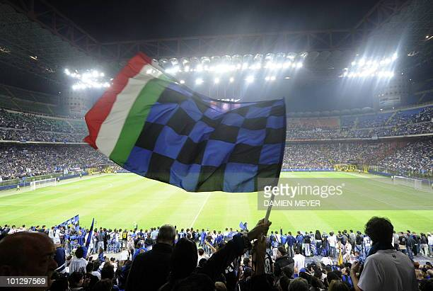 Inter Milan's supporters celebrate at San Siro stadium in Milan after their team's victory against Bayern Munich in the UEFA Champions league final...