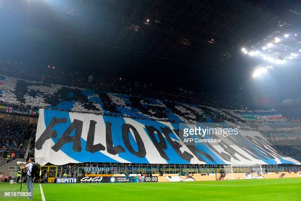 Inter Milan's supporters deploy giant banners in the stands before the Italian Serie A football match Inter Milan Vs AC Milan on October 15 2017 at...