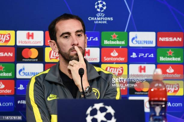 Inter Milan's Uruguayan defender Diego Godin ponders during a press conference on December 9, 2019 in Appiano Gentile, on the eve of the UEFA...