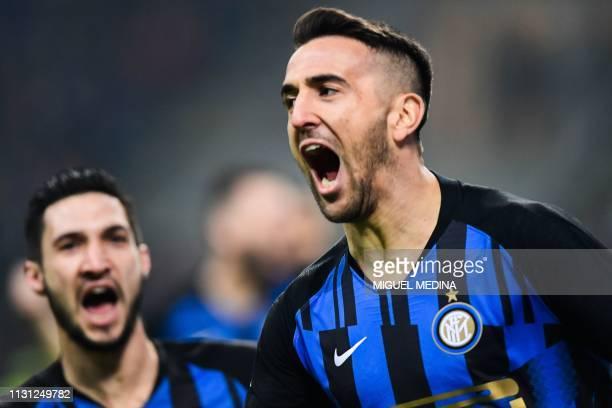 Inter Milan's Uruguayan midfielder Matias Vecino celebrates after opening the scoring during the Italian Serie A football match AC Milan vs Inter...