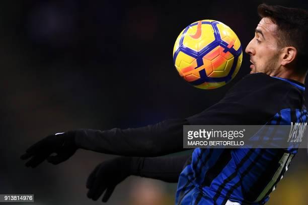 TOPSHOT Inter Milan's Uruguayan midfielder Matias Vecino controls the ball during the Italian Serie A football match Inter Milan versus Crotone on...