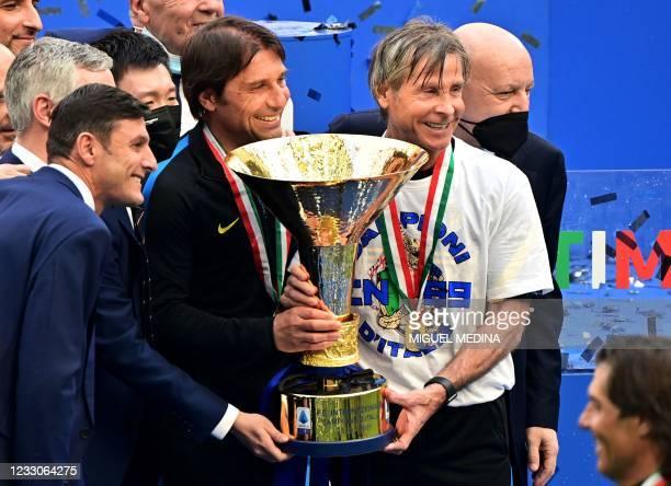 Inter Milan's Vice-President Javier Zanetti, Inter Milan's President Steven Zhang, Inter Milan's Italian coach Antonio Conte, Inter Milan's Sports...