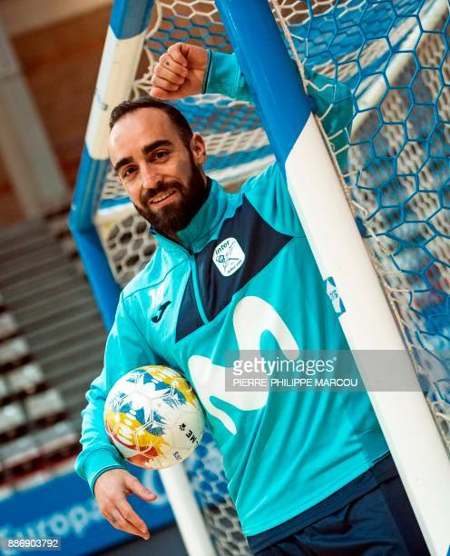 Inter Movistar's Portuguese futsal player Ricardo Filipe da Silva Braga 'Ricardinho' poses before a training session at Jorge Carbajosa Sport Center...