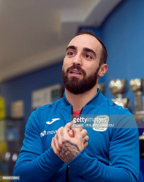 Inter Movistar's Portuguese futsal player Ricardo Filipe da Silva Braga 'Ricardinho' speaks during an AFP interview after a training session at Jorge...