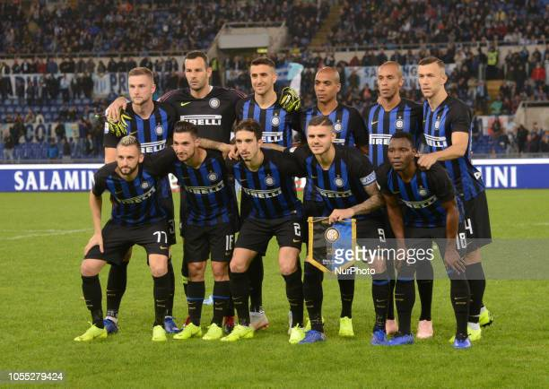 FC Inter players before the Italian Serie A football match between SS Lazio and Inter at the Olympic Stadium in Rome on october 29 2018