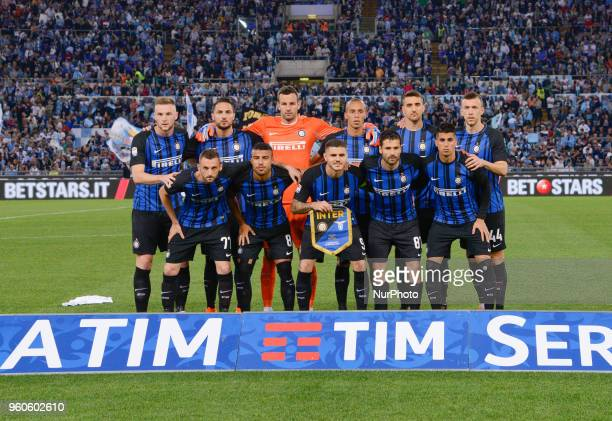 FC Inter players before the Italian Serie A football match between SS Lazio and FC Inter at the Olympic Stadium in Rome on may 20 2018