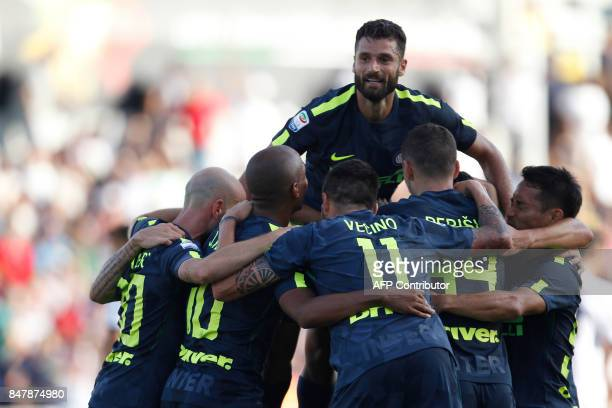 Inter players celebrate a goal during the Italian Serie A football match FC Crotone vs FC Internazionale Milano on September 16 2017 at the Ezio...