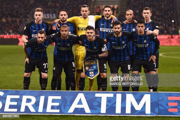 Inter players Croatian midfielder Marcelo Brozovic Brazilian forward Rafinha Argentinian forward Mauro Icardi Italian midfieldeer Antonio Candreva...