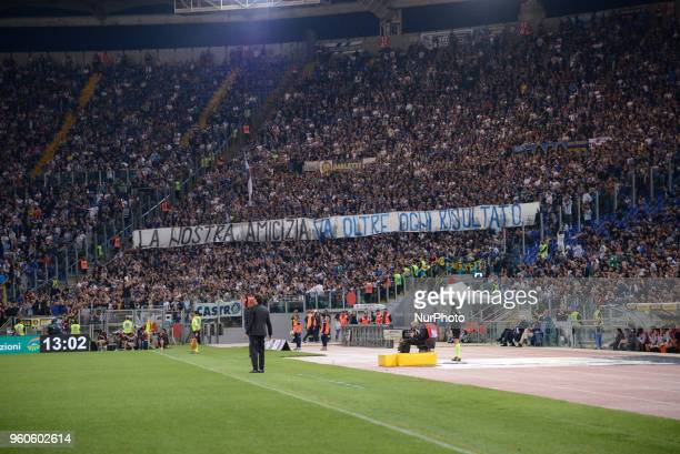 FC Inter supporters during the Italian Serie A football match between SS Lazio and FC Inter at the Olympic Stadium in Rome on may 20 2018