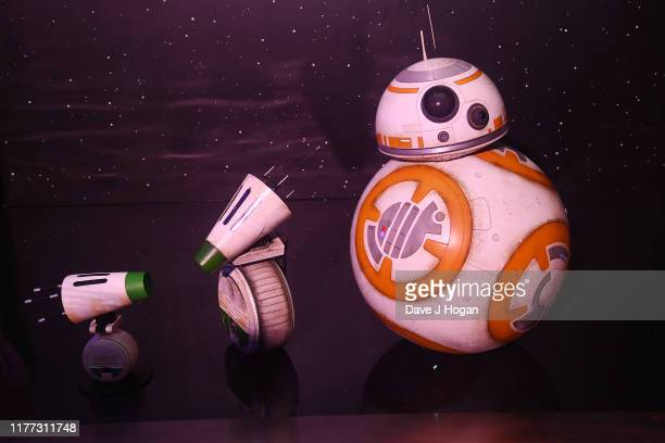Interactive Droid by Hasbro on display and BB-8 droid on display at the global live-stream event at Pinewood Studios revealing new Star Wars...