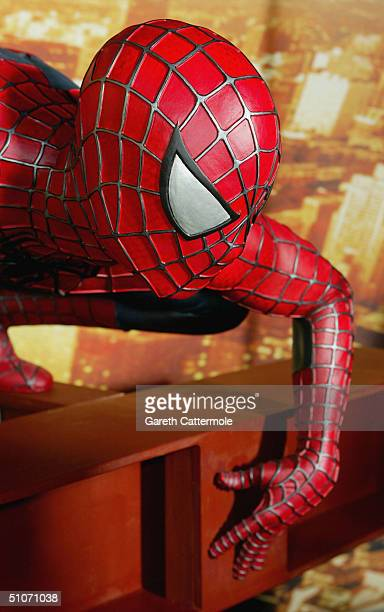 Interactive SpiderMan 2 attraction is unveiled at Madame Tussauds on July 15 2004 in London The attraction with the new SpiderMan figure features a...