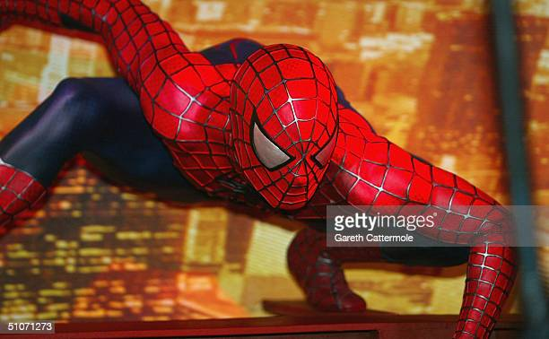 Interactive SpiderMan 2 attraction is unveiled at Madame Tussauds on July 15 2004 in London The attraction with new SpiderMan figure features a web...