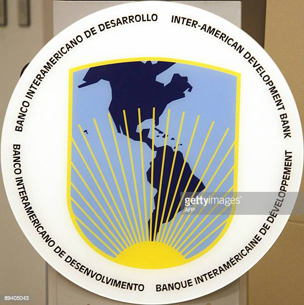 InterAmerican Development Bank logo at its Washington DC Headquarters on July 28 2009 The IDB hosted a seminar on the prospects for Economic and...
