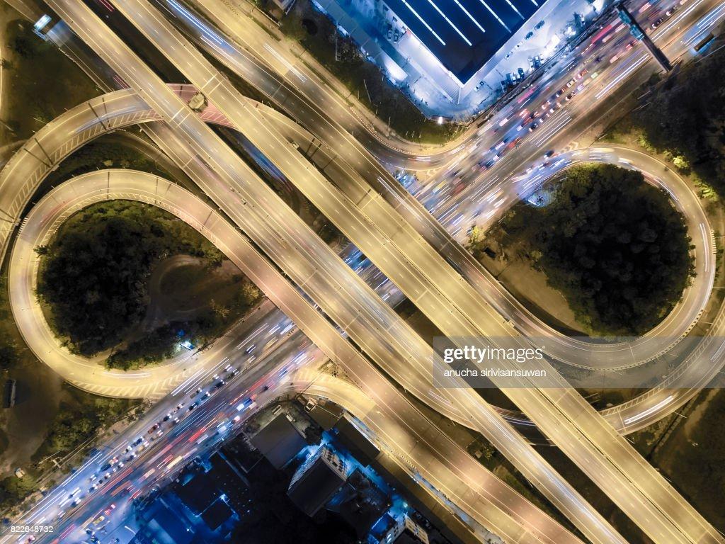 interchange Highway traffic beautiful at Night, Bird Eye View in bangkok , top view , Bangkok , Thailand . : Stock Photo