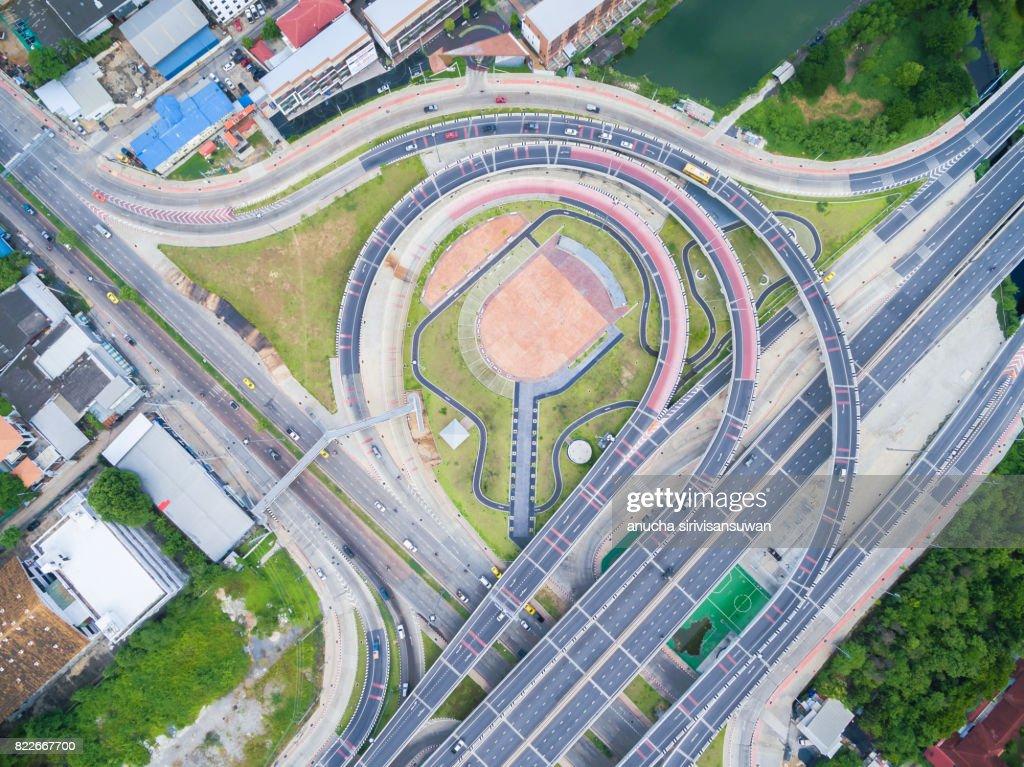 interchange Highway traffic beautiful , Bird Eye View in bangkok , top view , Bangkok , Thailand . : Stock Photo