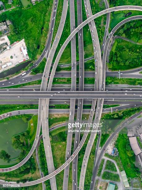interchange Highway traffic beautiful , Bird Eye View in bangkok , top view , Bangkok , Thailand .