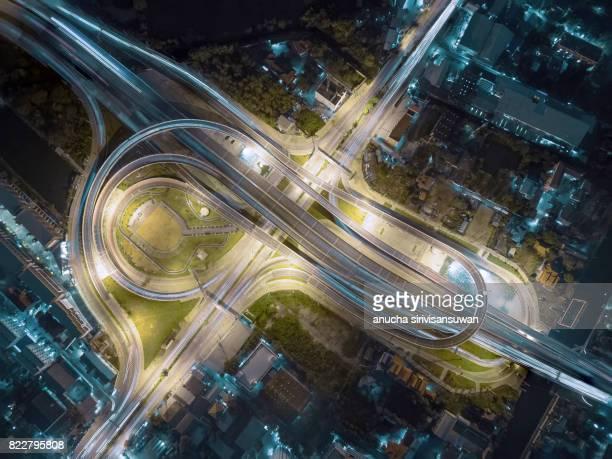 interchange Highway traffic beautiful , Bird Eye View in bangkok , top view , Bangkok , Thailand .
