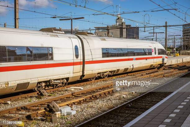 ICE -Intercity Express- high speed train arriving in Amsterdam