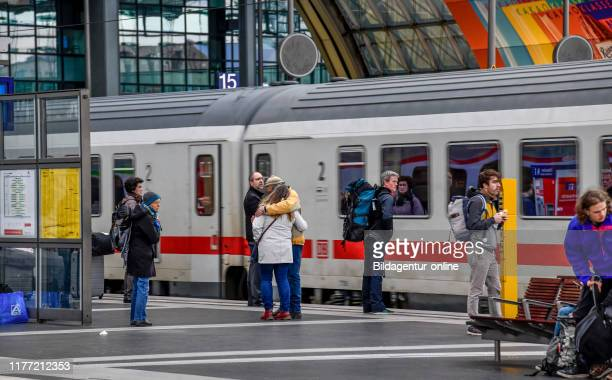 Intercity train central station Moabit middle Berlin Germany IC Hauptbahnhof Mitte Germany