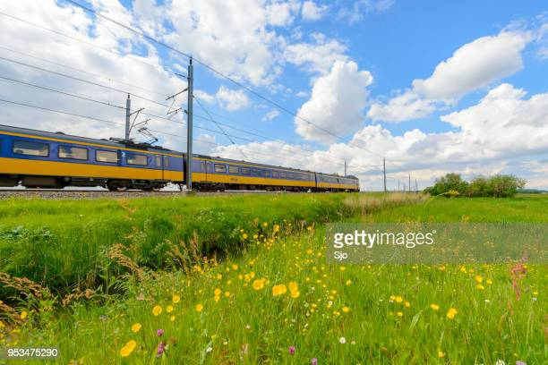 Intercity train of the Dutch Railways driving in springtime landscape
