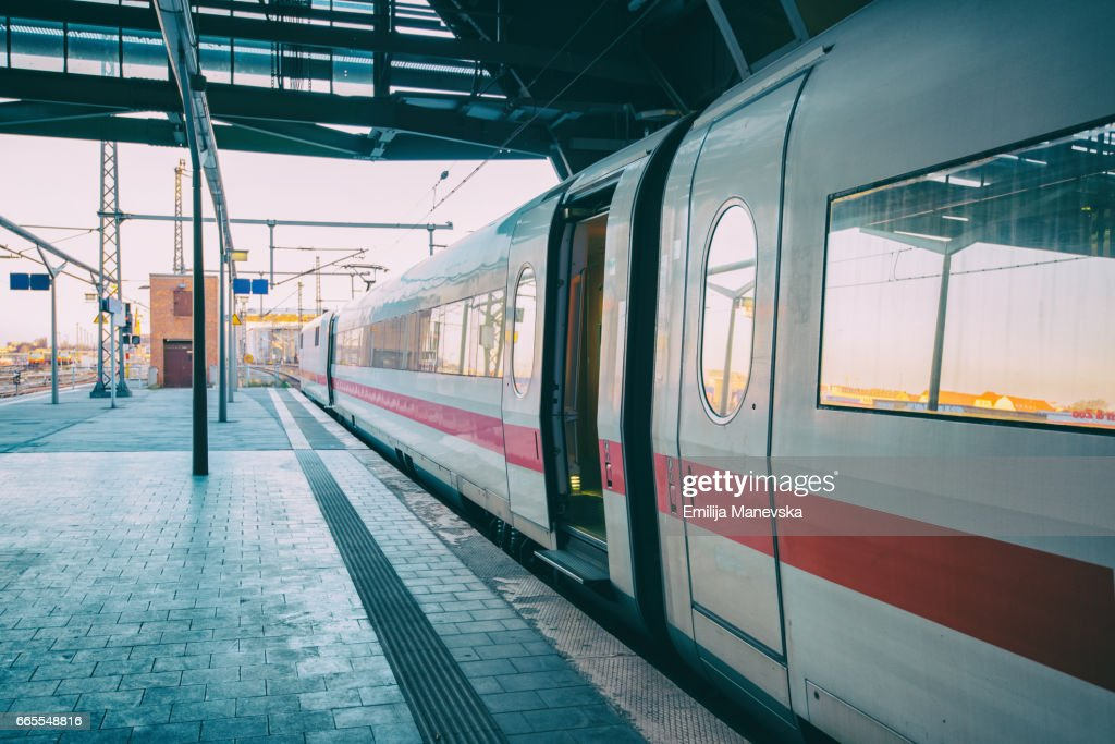Intercity-Express (ICE) train at platform : Stock Photo
