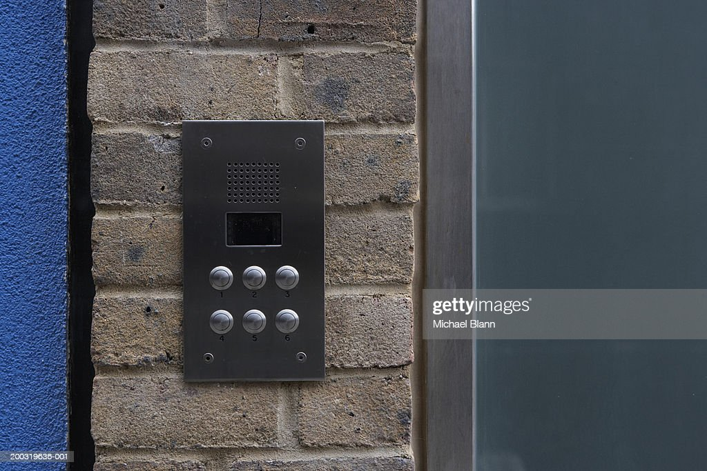 Intercom on wall : Stock Photo