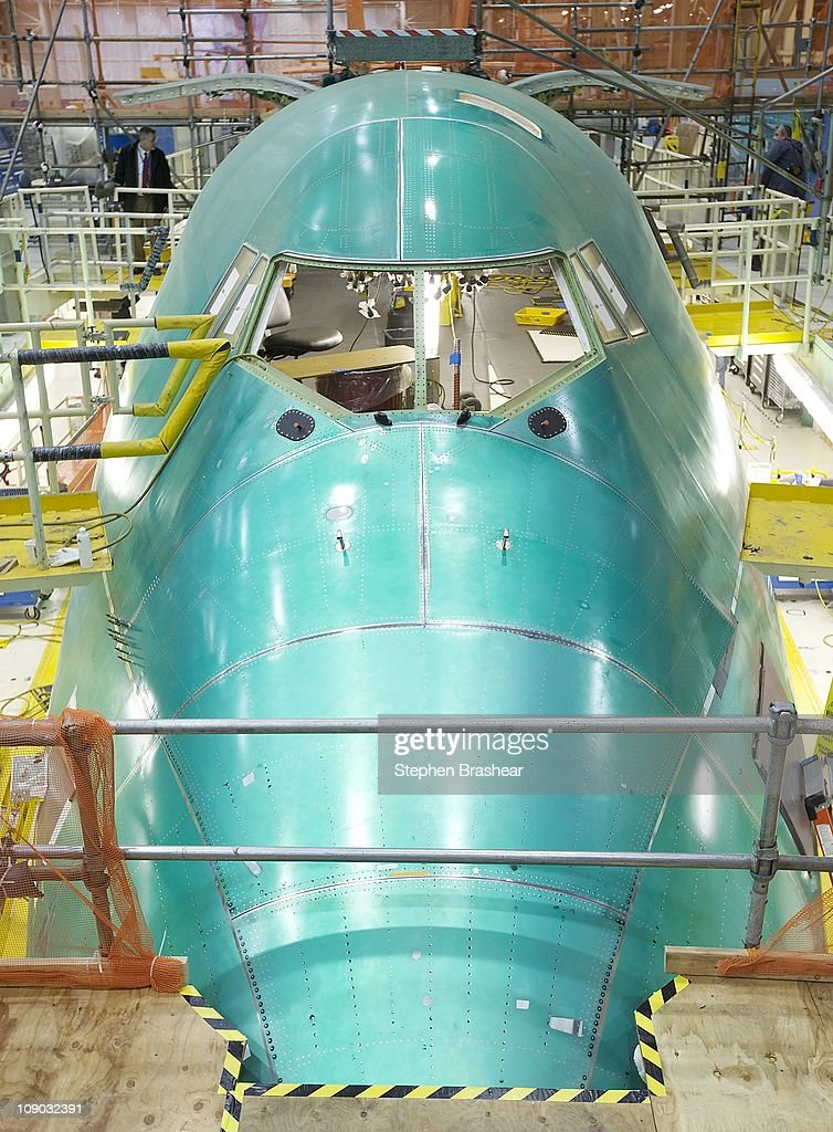 Intercontinental airplane sits on the assembly line at the Boeing factory February 12, 2011 in Everett, Washington. Boeing will unveil a passenger version of the 747-8 Intercontinental, which will leverage many of the technologies from the 787 Dreamliner on February 13, 2011. It will feature quieter more fuel efficient engines, higher passenger capacity and a newly redesigned interior.
