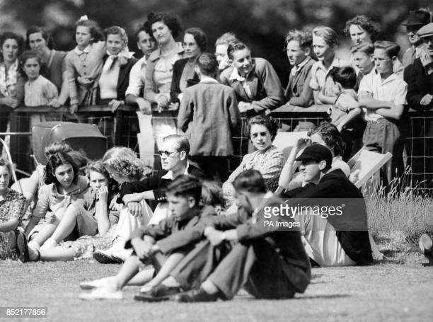 Interested spectators in deck chairs at the village cricket ground of MershamleHatch near Ashford Kent are Princess Elizabeth and Lady Brabourne They...