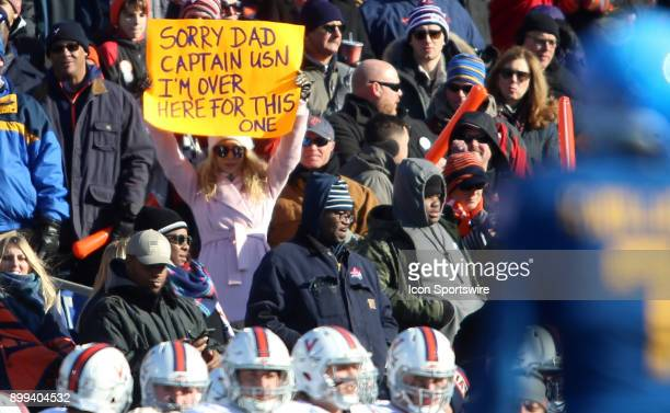 Interesting sign from a Virginia Cavalier fan during the Military Bowl football game between Navy and Virginia at Navy Marine Corps Memorial Stadium...