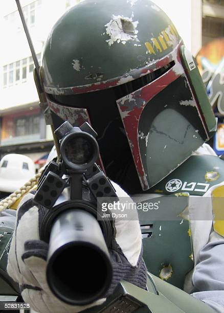 Intergalactic bounty hunter Boba Fett is pictured outside the Empire cinema to celebrate the London premiere of the final part of the Star Wars...