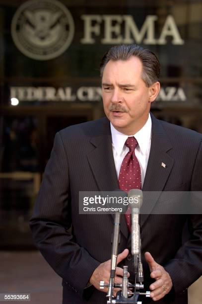 Interim acting Federal Emergency Management Agency head, R. David Paulison, speaks to the media during a conference with Homeland Security Chief...