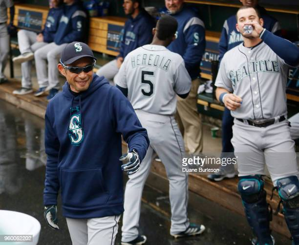 Interim bench coach Ichiro Suzuki of the Seattle Mariners walks around the dugout prior to game one of a doubleheader against the Detroit Tigers at...