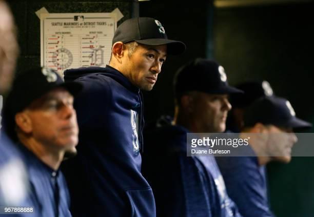 Interim bench coach Ichiro Suzuki of the Seattle Mariners watches from the dugout during the ninth inning of game two of a doubleheader against the...