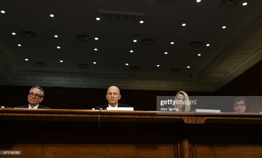 Interim CEO of Equifax Paulino Barros, former CEO of Equifax Richard Smith, former CEO of Yahoo Marissa Mayer, and Deputy General Counsel and Chief Privacy Officer for Verizon Communications Karen Zacharia testify during a hearing before Senate Commerce, Science and Transportation Committee November 8, 2017 on Capitol Hill in Washington, DC. The committee held a hearing on 'Protecting Consumers in the Era of Major Data Breaches.'