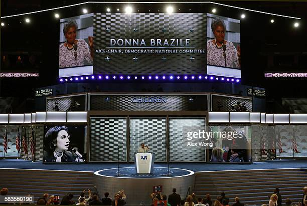 Interim chair of the Democratic National Committee Donna Brazile delivers remarks on the second day of the Democratic National Convention at the...
