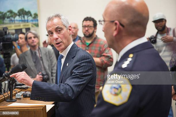 Interim Chicago Police Superintendant John Escalante listens as Mayor Rahm Emanuel takes questions during a press conference on December 7 2015 in...
