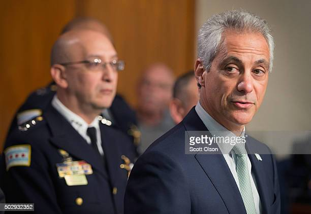 Interim Chicago Police Superintendent John Escalante listens as Chicago Mayor Rahm Emanuel addresses changes in training and procedures that will...