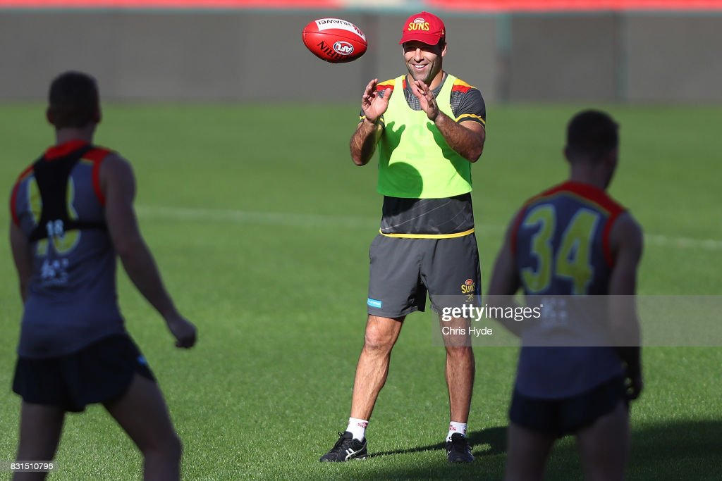 Interim Coach Dean Solomon during a Gold Coast Suns AFL training session at Metricon Stadium on August 15, 2017 in Gold Coast, Australia.