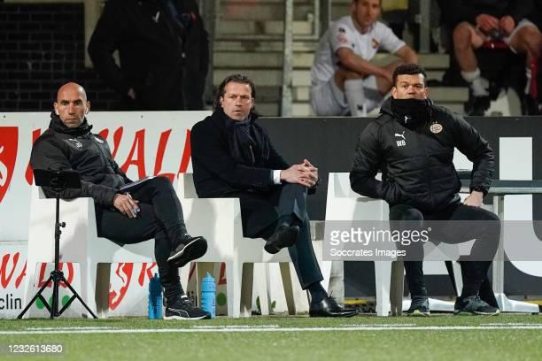 Interim coach Ernest Faber of PSV U23, Wilfred Bouma of PSV U23 during the Dutch Keuken Kampioen Divisie match between Telstar v PSV U23 at the...