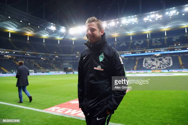 Interim coach Florian Kohfeldt of Bremen looks on prior to the Bundesliga match between Eintracht Frankfurt and SV Werder Bremen at CommerzbankArena...