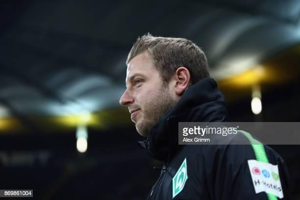 Interim coach Florian Kohfeldt of Bremen looks on prior to the Bundesliga match between Eintracht Frankfurt and SV Werder Bremen at Commerzbank-Arena...