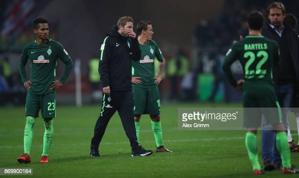 Interim coach Florian Kohfeldt of Bremen reacts after the Bundesliga match between Eintracht Frankfurt and SV Werder Bremen at CommerzbankArena on...
