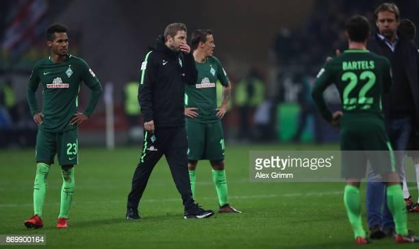 Interim coach Florian Kohfeldt of Bremen reacts after the Bundesliga match between Eintracht Frankfurt and SV Werder Bremen at Commerzbank-Arena on...