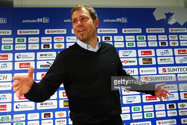 Interim coach Frank Kramer of Hoffenheim talks to the media during a press conference following the dismissal of head coach Markus Babbel at the...