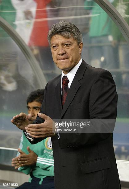 Interim coach Jesus Ramirez of Mexico applauds during their international friendly against China on April 16 2008 at Qwest Field in Seattle...