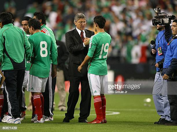 Interim coach Jesus Ramirez of Mexico has a few words with Pablo Barrera after their international friendly match against China on April 16 2008 at...