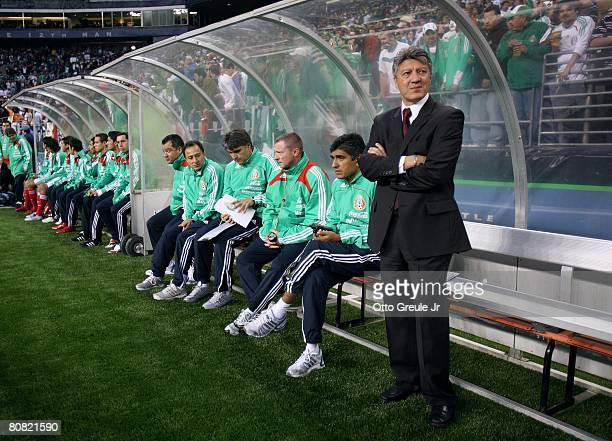 Interim coach Jesus Ramirez of Mexico looks on from the bench area during their international friendly against China on April 16 2008 at Qwest Field...