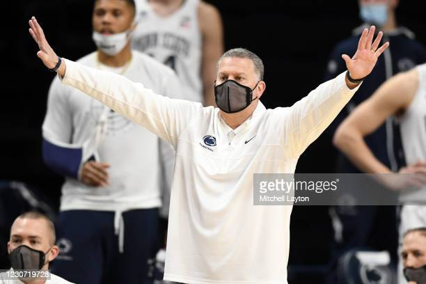 Interim coach Jim Ferry of the Penn State Nittany Lions signals to his players in the second half a college basketball game against the against the...