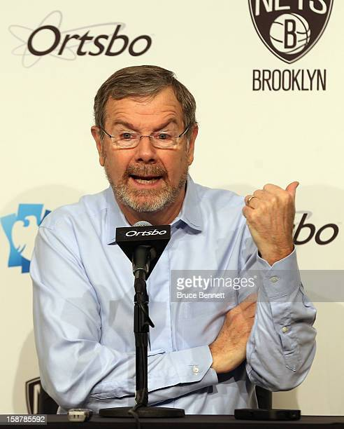 Interim Coach PJ Carlesimo of the Brooklyn Nets speaks with the media prior to his first game against the Charlotte Bobcatsat the Barclays Center on...